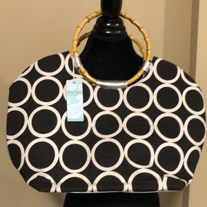 NWT Mudpie Black Circle Tote Bag (A564)